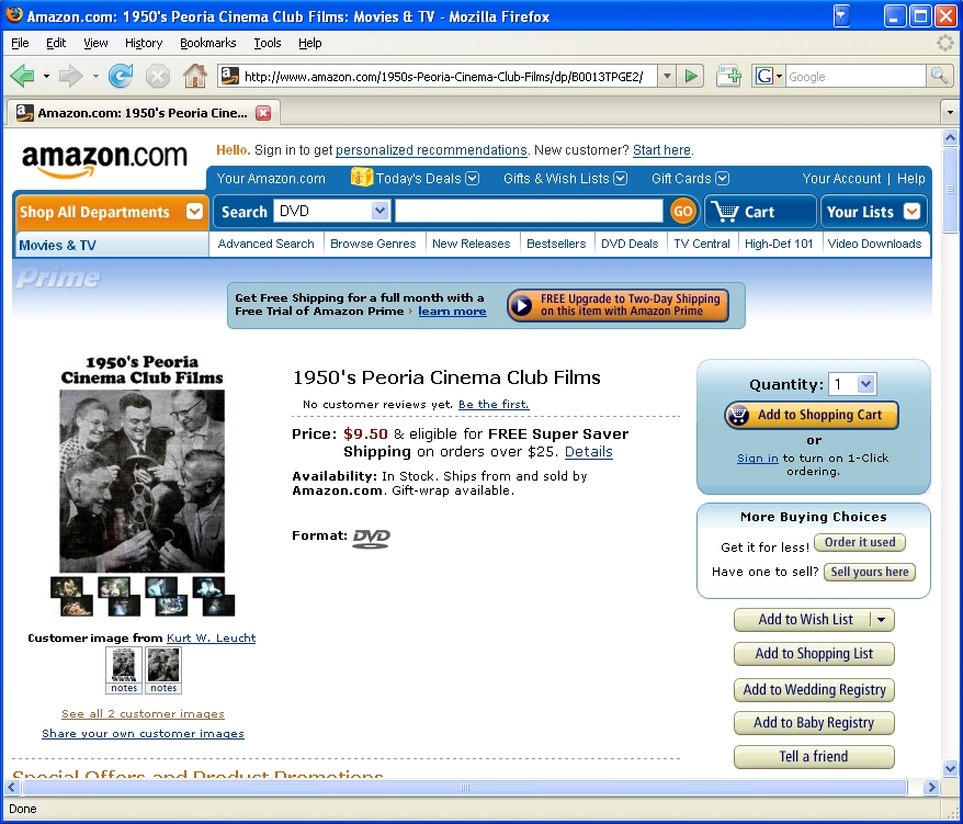 Amazon screenshot of 1950's Peoria Cinema Club Films DVD