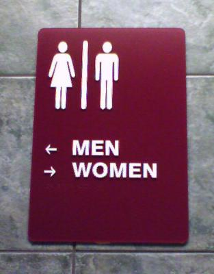 Poorly designed restroom sign