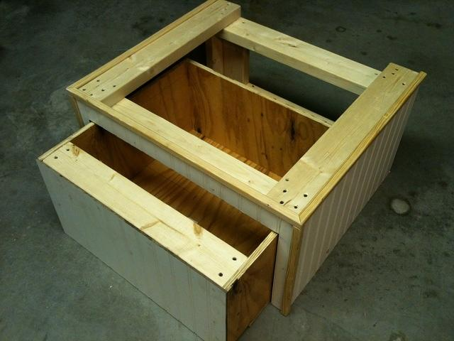 Custom built wood washer and dryer shelves 5