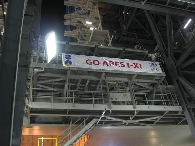 Ares I-X workforce signed banner