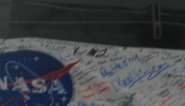 Ares I-X workforce signed banner zoomed even more